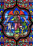 巴约大教堂玻璃被弄脏的视窗 免版税库存照片