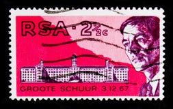 巴纳德,南非心脏Transplantserie医生画象,大约1969年 免版税库存图片