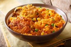 巴西人Galinhada鸡肉和大米用豌豆和玉米特写镜头 库存照片
