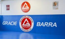 巴西人Jiu Jitsu在伦敦,英国混合了揪打训练的武术在富勒姆格蕾丝巴拉岛学院 库存图片