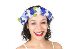 巴西女孩特写  黑人妇女佩带花圈 她是d 库存照片