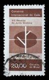 巴西打印的邮票显示国际咖啡大会,里约热内卢 免版税库存照片