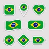 巴西旗子传染媒介集合 巴西国旗贴纸收藏 传染媒介被隔绝的几何象 网,运动栏, patrioti 向量例证