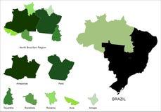 巴西映射北部区域 免版税图库摄影