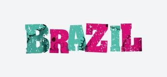 巴西概念被盖印的词艺术例证 免版税库存图片