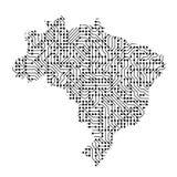 巴西的抽象概要地图从黑色的打印了板, c 皇族释放例证