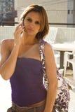 巴西蜂窝电话女孩 免版税库存照片