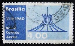 巴西邮票致力到21 04 1960 - 天巴西的航寄,大约1960年 库存照片