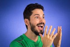 巴西队足球足球运动员 一支持者和爱好者一口 库存图片