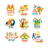 巴西,里约狂欢节商标设计集合,与化妆舞会面具, maracas的明亮的欢乐党横幅, toucan,音乐 库存例证
