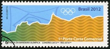 巴西- 2012年:展示奥林匹克圆环,伦敦2012年-里约2016年, 31th奥运会,里约,巴西 图库摄影