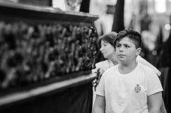 巴达霍斯西班牙星期一 4月14日 2017年 圣洁星期五 队伍  图库摄影