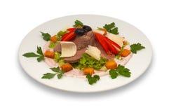 巴马干酪沙拉小牛肉蔬菜 免版税库存图片
