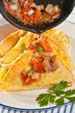 巴马干酪法式多士用香肠和蕃茄 库存图片