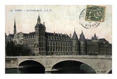 巴黎、Conciergerie和Pont澳大利亚改变,法国,大约1907年, 免版税图库摄影