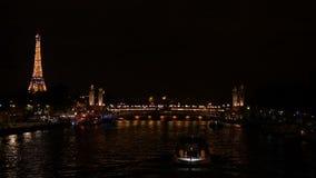 巴黎人地标在晚上 影视素材