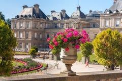 巴黎人citylandscape -卢森堡宫殿的看法通过与花的花盆 图库摄影
