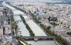 巴黎从埃佛尔铁塔的顶端查看了 免版税库存图片