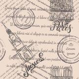 巴黎圣母院和克里姆林宫有在的巴黎和莫斯科,无缝的样式上写字在米黄背景 库存图片