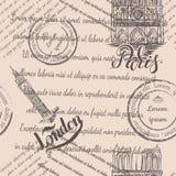 巴黎圣母院和大本钟有在的巴黎和伦敦,无缝的样式上写字在米黄背景 库存照片
