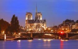 巴黎圣母院在晚上,巴黎,法国 免版税库存照片