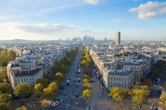巴黎地平线从letoile的安排de,法国的 库存照片