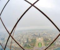 巴黎地平线和塞纳河广角看法从埃菲尔拖曳 库存图片