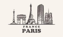 巴黎地平线,法国葡萄酒传染媒介例证,手拉的大厦 库存例证