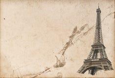 巴黎埃佛尔铁塔半新纸纹理 免版税库存图片