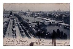 巴黎市全景,葡萄酒明信片,法国,大约1903年, 库存照片