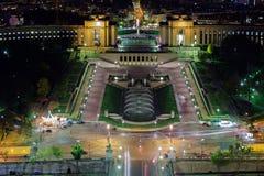 巴黎市晚上视图 库存照片