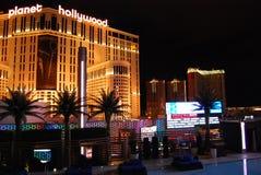 巴黎旅馆和赌博娱乐场、行星好莱坞渡假胜地和娱乐场,拉斯维加斯,市区,夜,大都会,地标 免版税库存图片