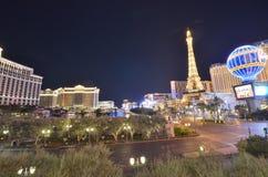巴黎旅馆和赌博娱乐场、贝拉焦旅馆和赌博娱乐场,贝拉焦,市区,地标,夜,城市 免版税库存图片