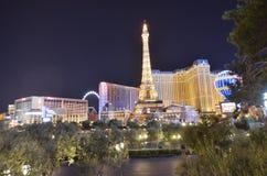 巴黎旅馆和赌博娱乐场,地标,夜,城市,地平线 库存照片