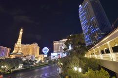 巴黎旅馆和赌博娱乐场,市区,地标,大都会,夜 库存照片