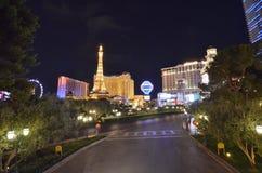 巴黎旅馆和赌博娱乐场,市区,夜,地标,城市 库存图片