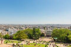巴黎看法从Sacre Coeur大教堂小山的 库存图片