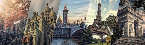 巴黎著名地标拼贴画 库存照片