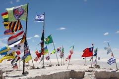 巴黎达喀尔拉力赛的旗子 图库摄影