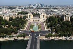 巴黎,法国鸟瞰图和塞纳河 免版税库存图片