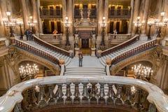 巴黎,法国, 2017年3月31日:歌剧全国de巴黎Garnier,法国的内部看法 它从1861被修造了 库存图片