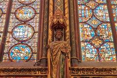 巴黎,法国, 2017年4月01日:Sainte Chapelle圣洁教堂在巴黎,法国 Sainte Chapelle皇家中世纪 库存图片