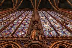 巴黎,法国, 2017年4月01日:Sainte Chapelle圣洁教堂在巴黎,法国 Sainte Chapelle皇家中世纪 库存照片