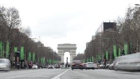 巴黎,法国-凯旋门交通Timelapse弧du triomphe Trionfo 影视素材