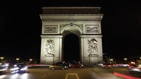 巴黎,法国-凯旋门夜交通Timelapse弧du triomphe Trionfo 影视素材