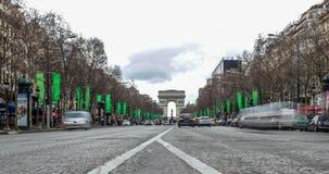 巴黎,法国-凯旋门夜交通Timelapse弧du triomphe Trionfo 股票录像