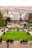 巴黎,法国- 2017年11月:巴黎从高地o的市视图 免版税库存图片