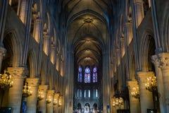 巴黎,法国- 2014年6月8日:巴黎圣母院内部看法  库存图片