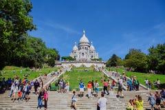 巴黎,法国- 2015年6月28日:Sacre Coeur大教堂 库存照片