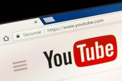 巴黎,法国- 2017年6月05日:YouTube网站主页 YouTube是一个录影分享的网站,创造由三前PayPal empl 免版税库存照片